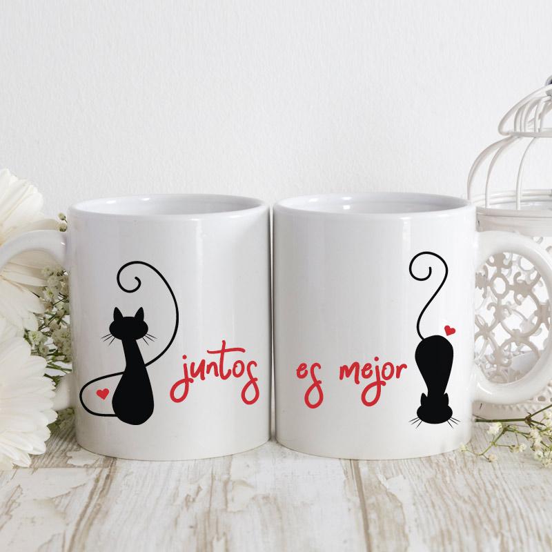 """Taza pareja para boda """"Juntos es mejor"""". Gatitos."""