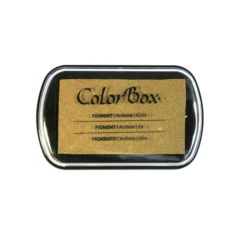 Tampón para sellos Colorbox en color oro. Premium.