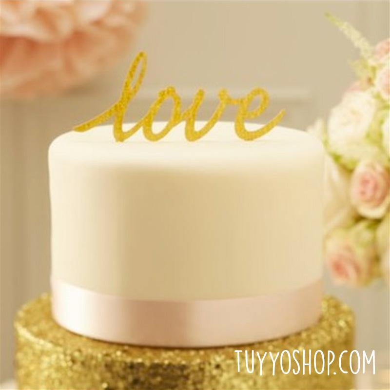 Topper para tarta Love dorado
