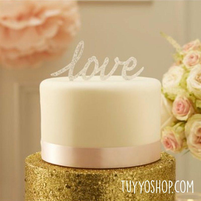 Topper para tarta Love plateado