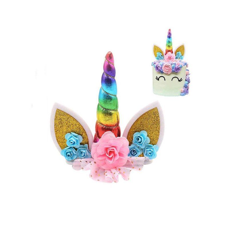 Topper unicornio rainbow para tarta. 15cm