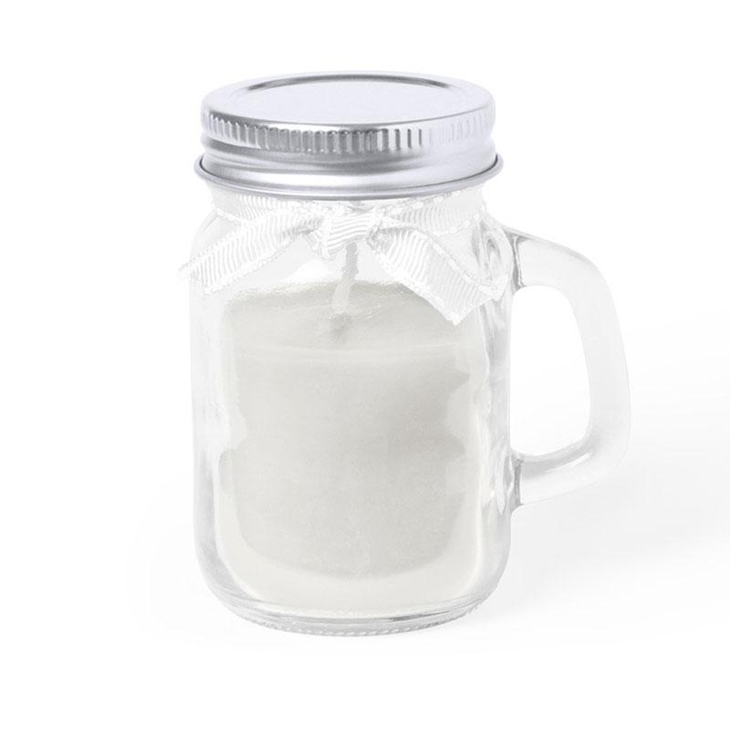 Vela en jarra de cristal. 3 aromas. 3 colores. Con lazo y tapa.