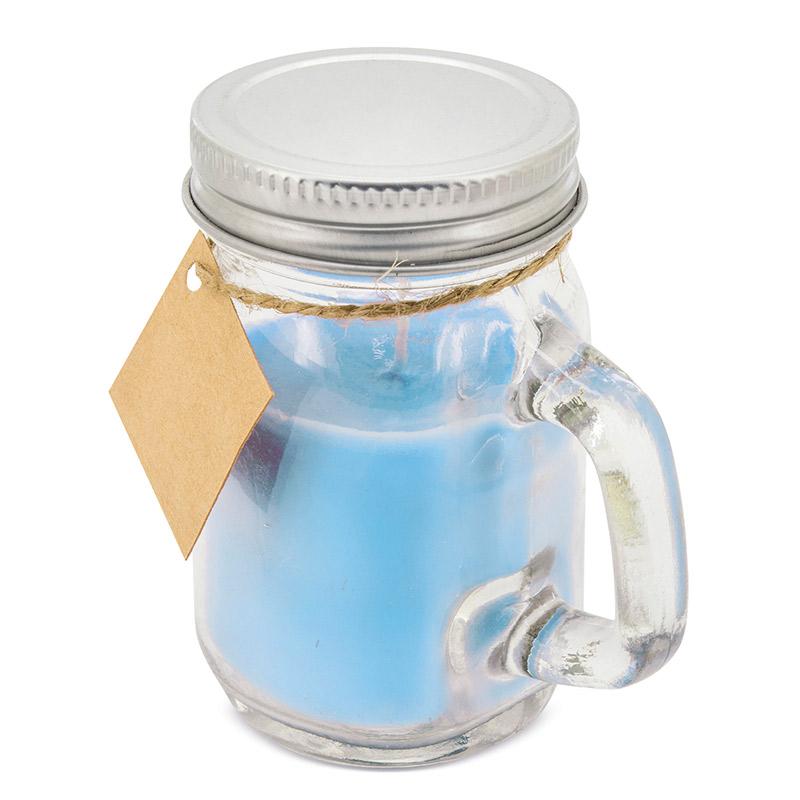 Vela aromática presentada en tarro de cristal. 4 colores. 8,5x5cm