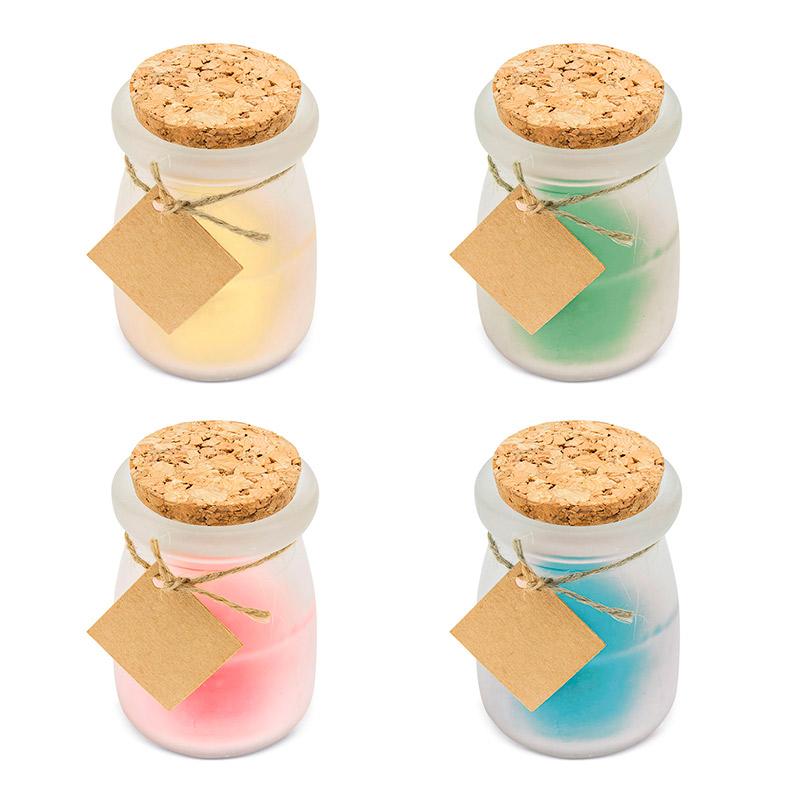 Nueva vela aromática en cristal con tapa de corcho. 4 colores. 8x5,5cm.