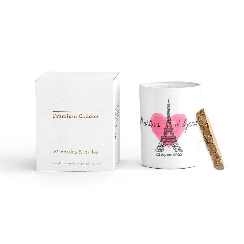 Vela Premium en color blanco. Tapa corcho y caja de regalo. Personalizable. Paris