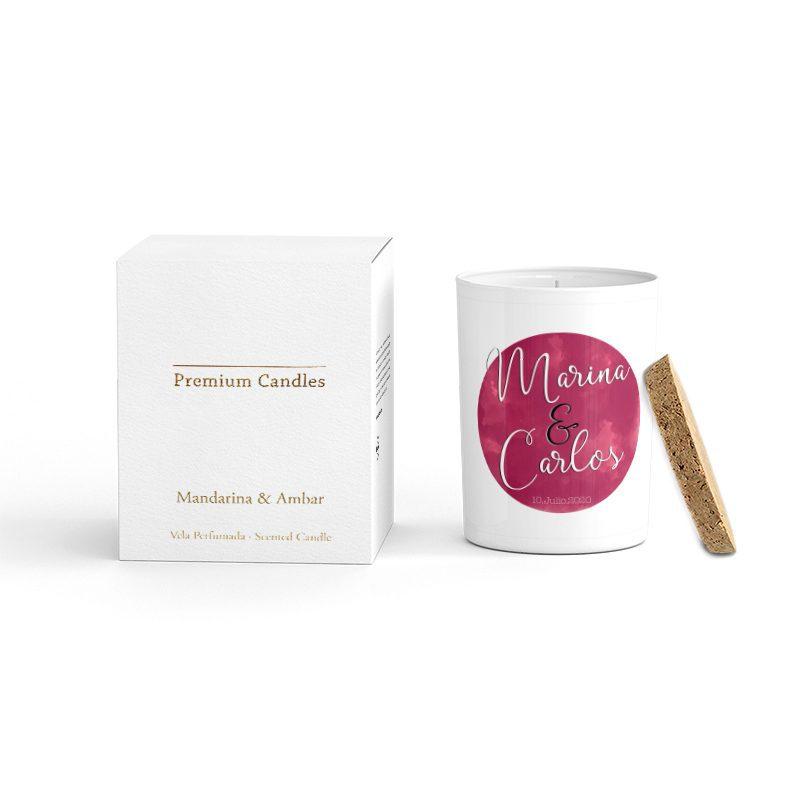 Vela Premium en color blanco. Tapa corcho y caja de regalo. Personalizable. Ramberos