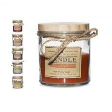 Vela perfumada con tapadera de madera y cuerda a juego.