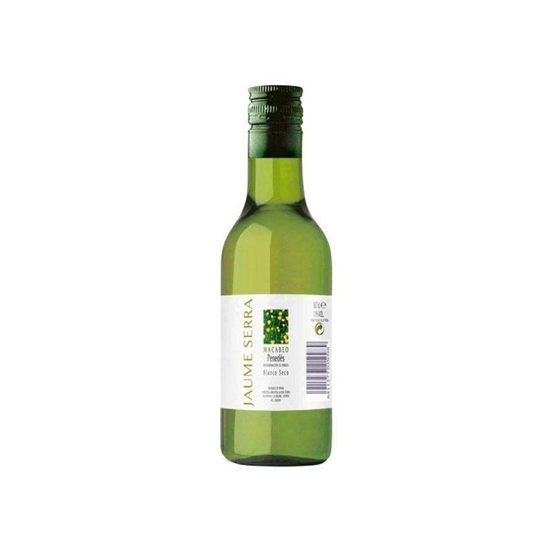 Vino blanco del Penedes. Jaume Serra. 18,7cl. 17x5cm. Botella de cristal