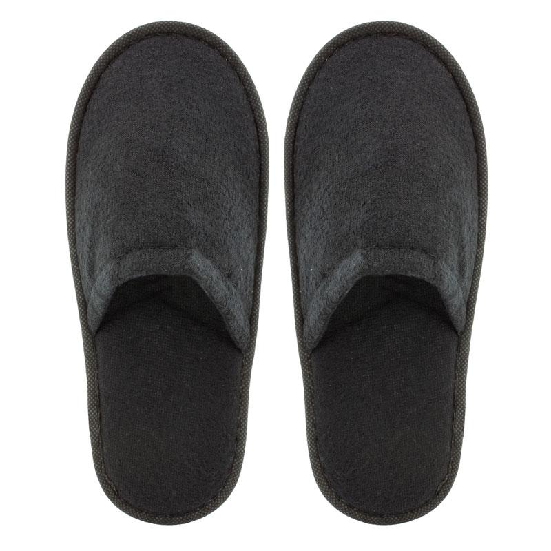Zapatilla de rizo para boda. Color negro. Lote 20 pares. 1.15€/par